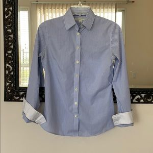 Pinstriped blue and white collared shirt